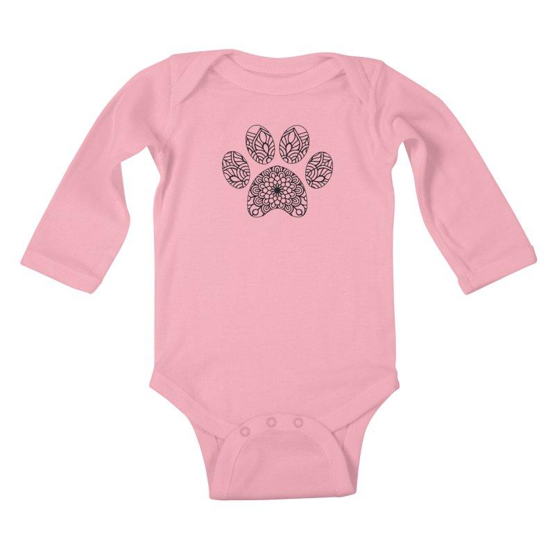 Black Cat Paw Print Mandala on Light Apparel Kids Baby Longsleeve Bodysuit by Logo Gear & Logo Wear