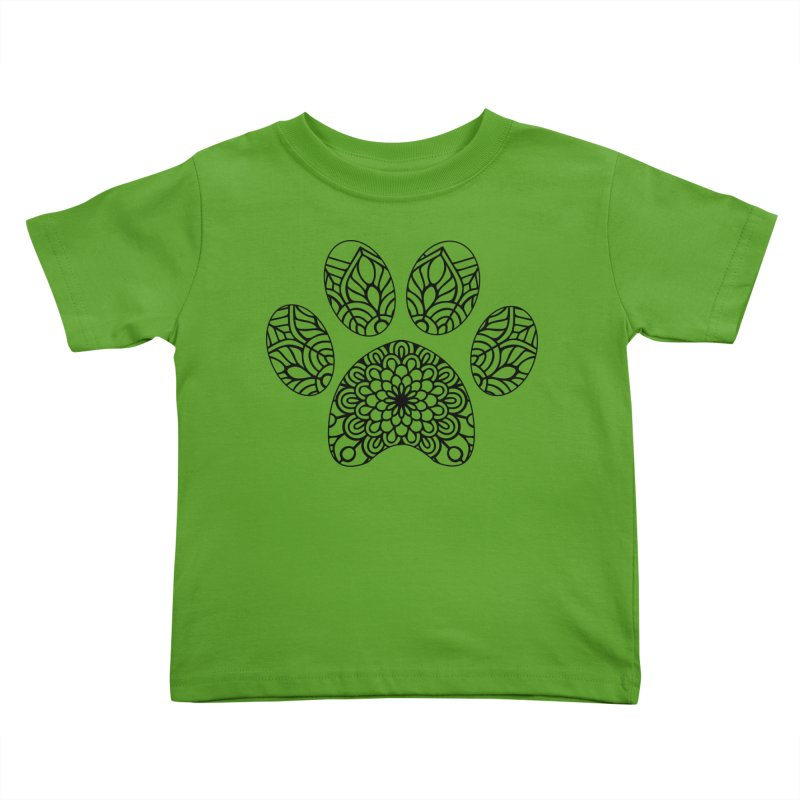 Black Cat Paw Print Mandala on Light Apparel Kids Toddler T-Shirt by Logo Gear & Logo Wear