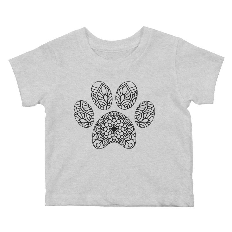Black Cat Paw Print Mandala on Light Apparel Kids Baby T-Shirt by Logo Gear & Logo Wear