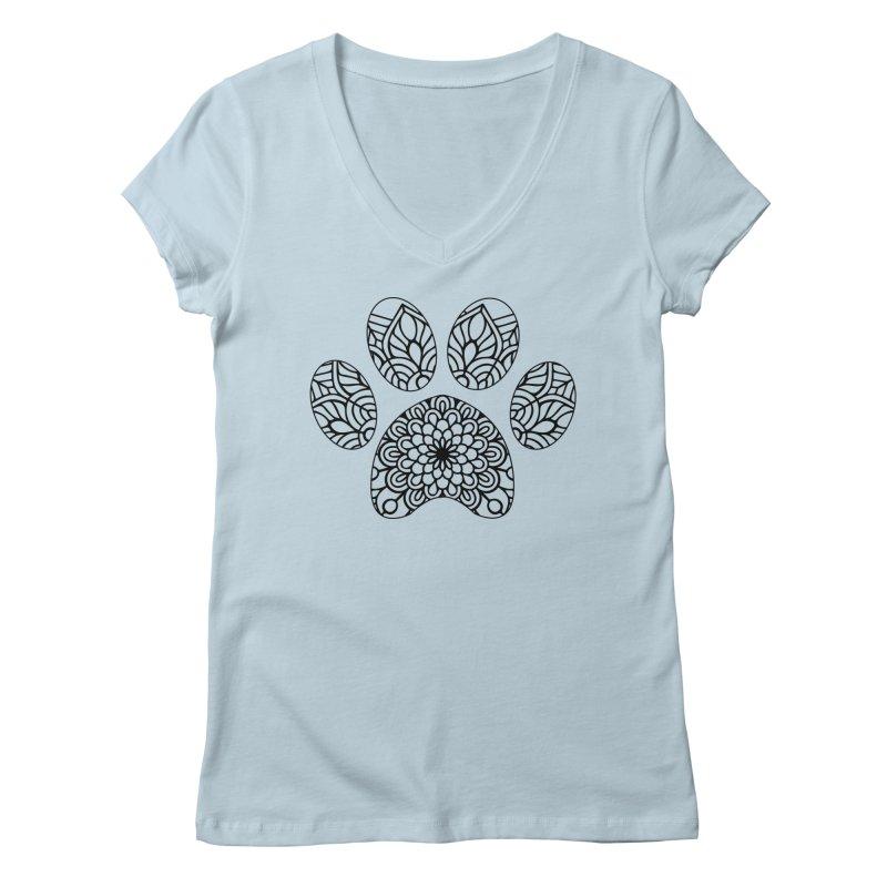 Black Cat Paw Print Mandala on Light Apparel Women's V-Neck by Logo Gear & Logo Wear