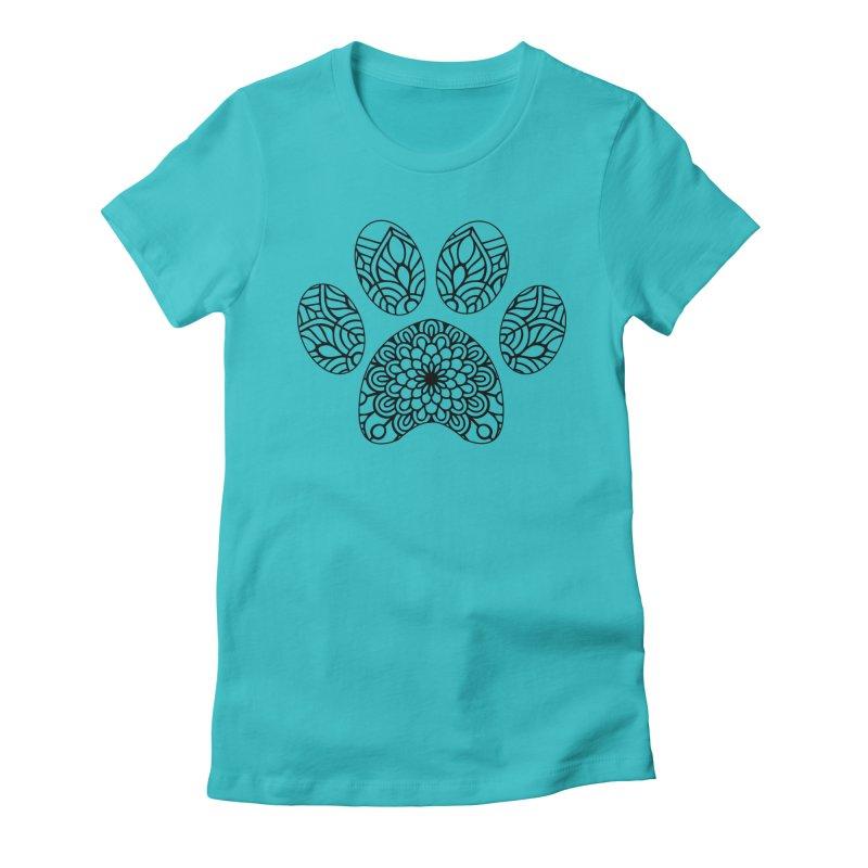 Black Cat Paw Print Mandala on Light Apparel Women's T-Shirt by Logo Gear & Logo Wear