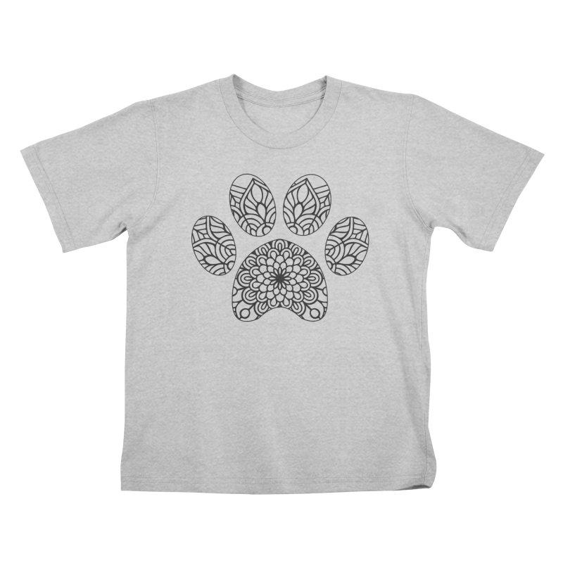 Black Cat Paw Print Mandala on Light Apparel Kids T-Shirt by Logo Gear & Logo Wear