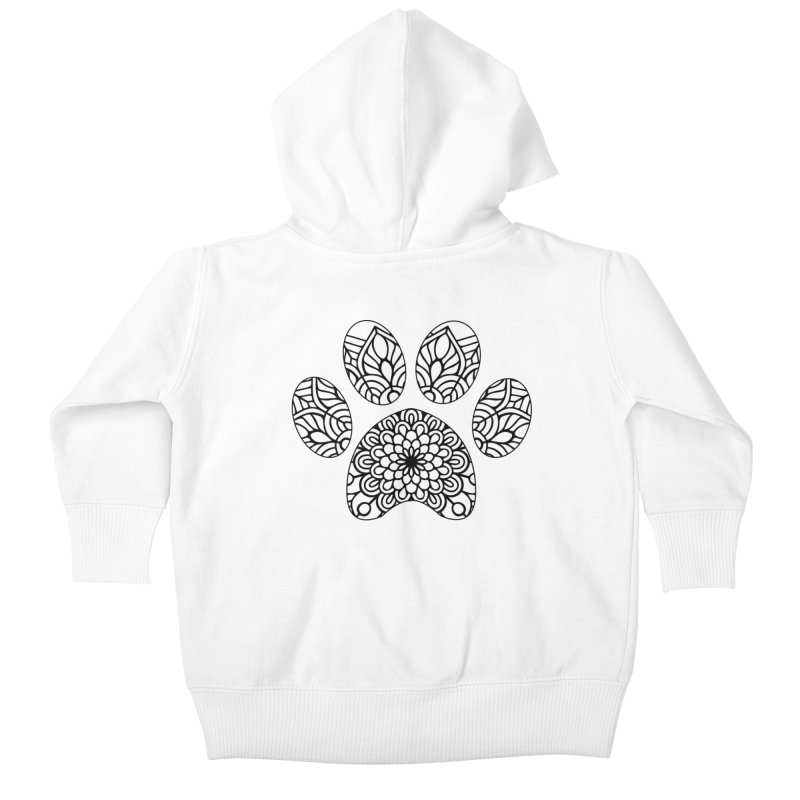 Black Cat Paw Print Mandala on Light Apparel Kids Baby Zip-Up Hoody by Logo Gear & Logo Wear