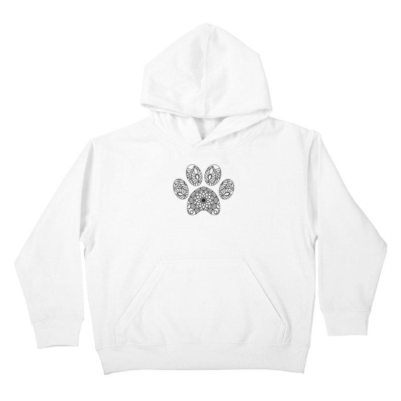 Black Cat Paw Print Mandala on Light Apparel Kids Pullover Hoody by Logo Gear & Logo Wear