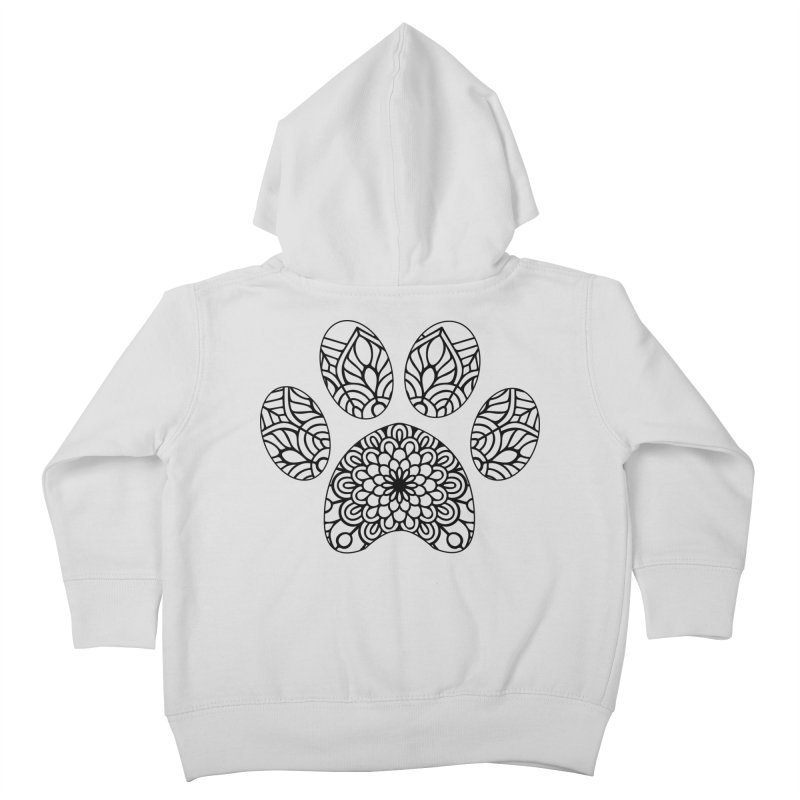 Black Cat Paw Print Mandala on Light Apparel Kids Toddler Zip-Up Hoody by Logo Gear & Logo Wear