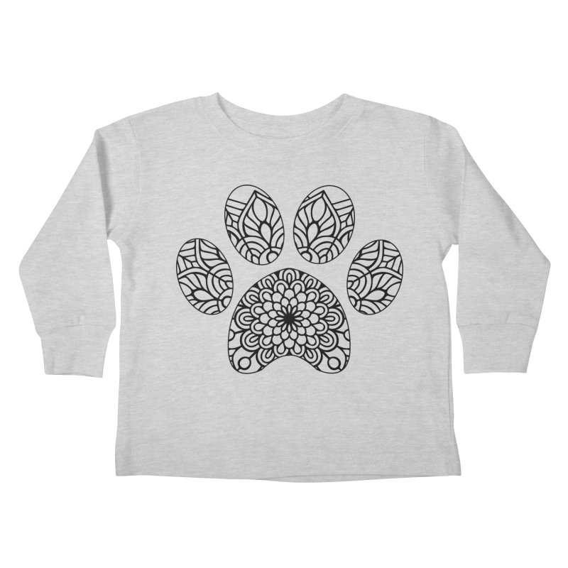 Black Cat Paw Print Mandala on Light Apparel Kids Toddler Longsleeve T-Shirt by Logo Gear & Logo Wear