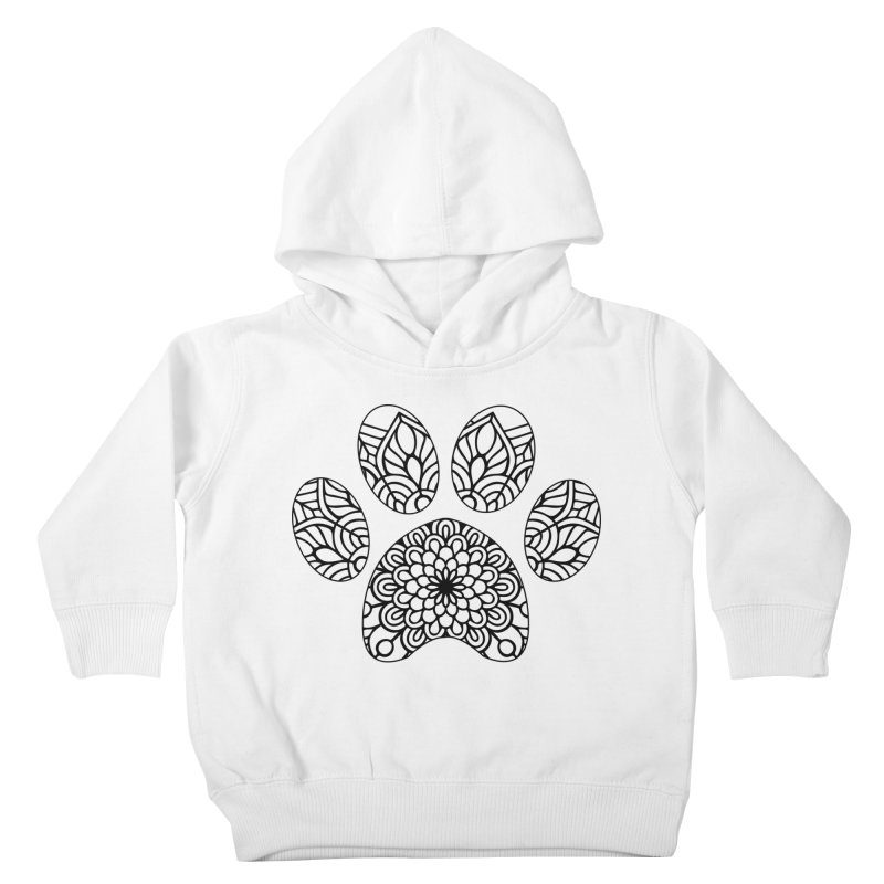 Black Cat Paw Print Mandala on Light Apparel Kids Toddler Pullover Hoody by Logo Gear & Logo Wear