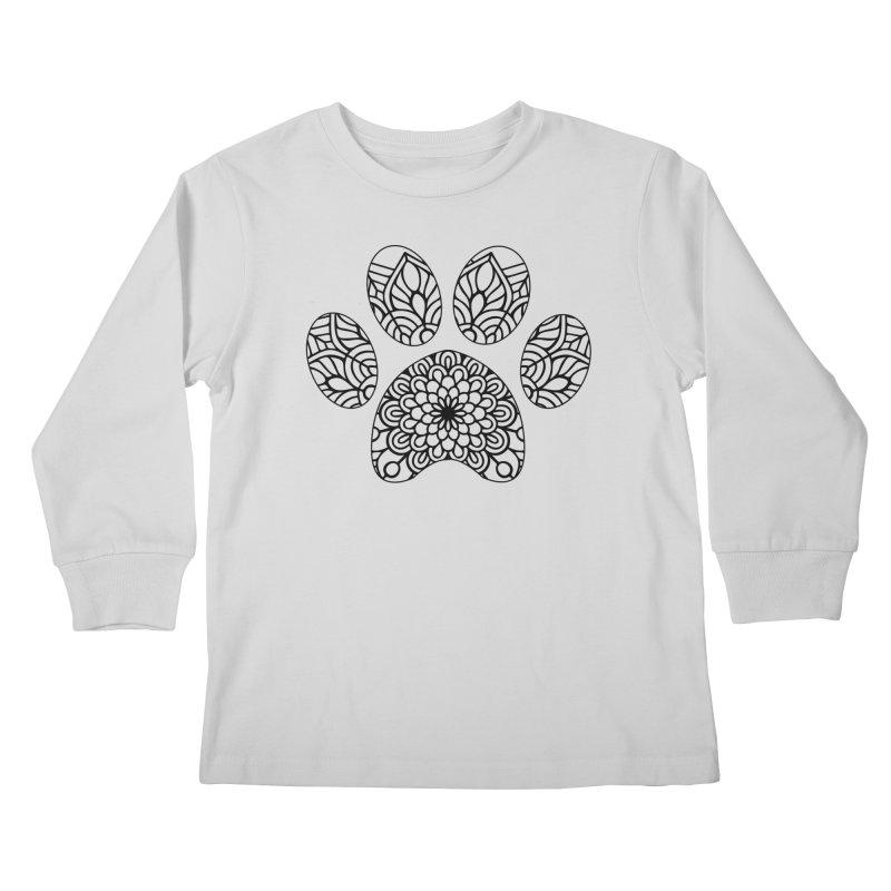 Black Cat Paw Print Mandala on Light Apparel Kids Longsleeve T-Shirt by Logo Gear & Logo Wear