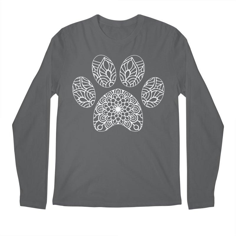 White Cat Paw Print Mandala on Dark Apparel Men's Longsleeve T-Shirt by Logo Gear & Logo Wear
