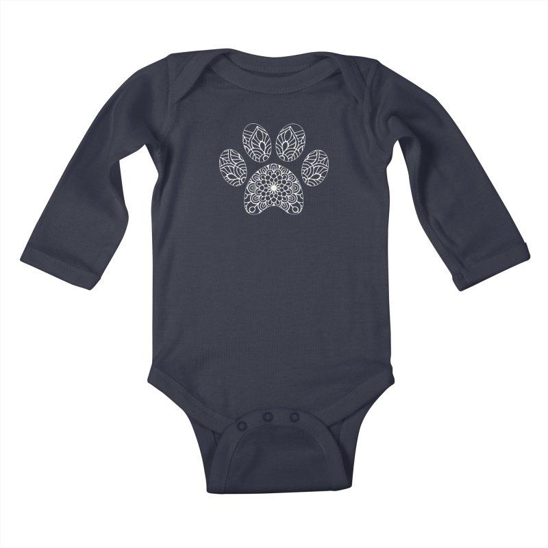 White Cat Paw Print Mandala on Dark Apparel Kids Baby Longsleeve Bodysuit by Logo Gear & Logo Wear