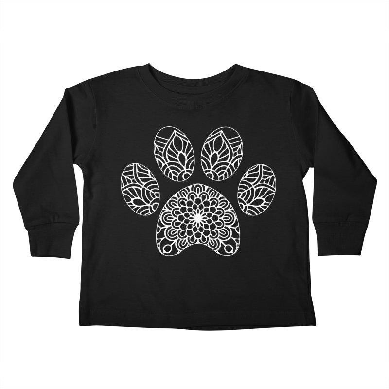 White Cat Paw Print Mandala on Dark Apparel Kids Toddler Longsleeve T-Shirt by Logo Gear & Logo Wear