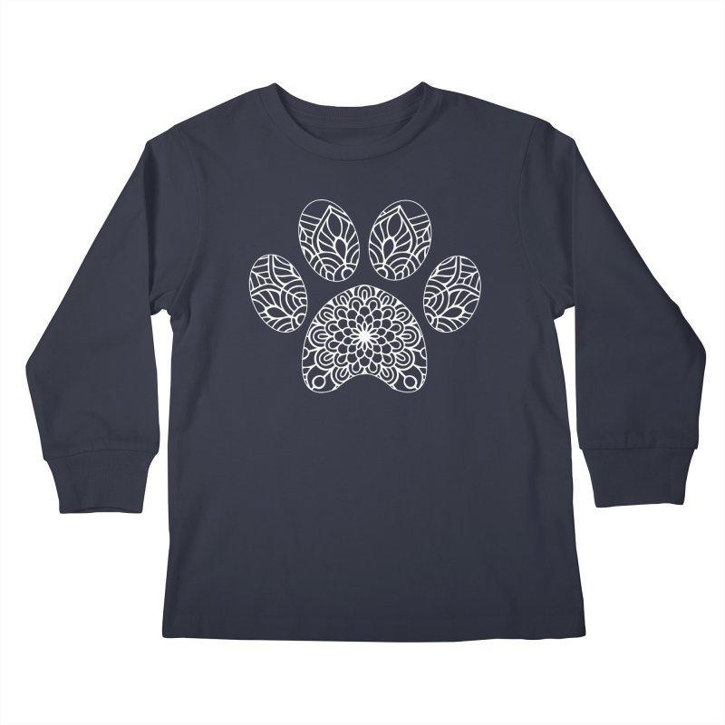 White Cat Paw Print Mandala on Dark Apparel Kids Longsleeve T-Shirt by Logo Gear & Logo Wear