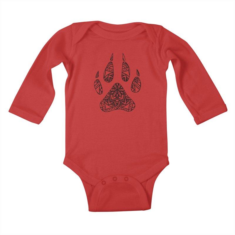 Black Dog Paw Print Mandala Design on Lighter Apparel Kids Baby Longsleeve Bodysuit by Logo Gear & Logo Wear