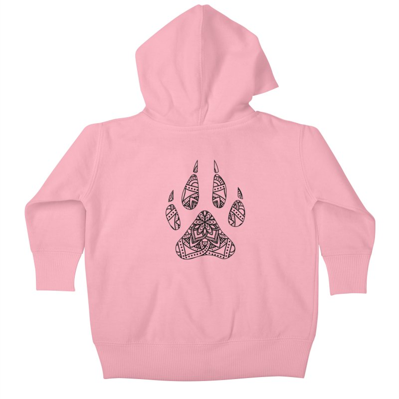 Black Dog Paw Print Mandala Design on Lighter Apparel Kids Baby Zip-Up Hoody by Logo Gear & Logo Wear