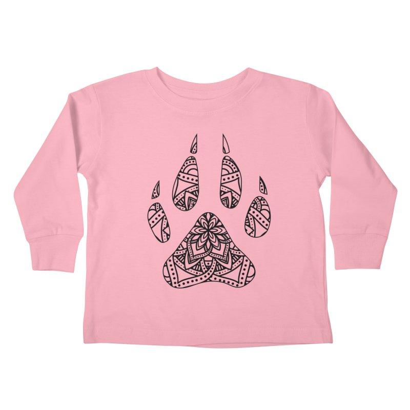 Black Dog Paw Print Mandala Design on Lighter Apparel Kids Toddler Longsleeve T-Shirt by Logo Gear & Logo Wear