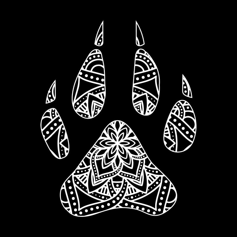 White Dog Paw Print Mandala Design on Darker Apparel Kids T-Shirt by Logo Gear & Logo Wear
