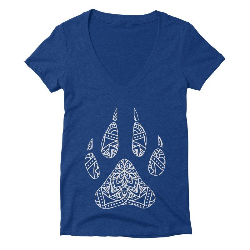 White Dog Paw Print Mandala Design on Darker Apparel Women's V-Neck by Logo Gear & Logo Wear