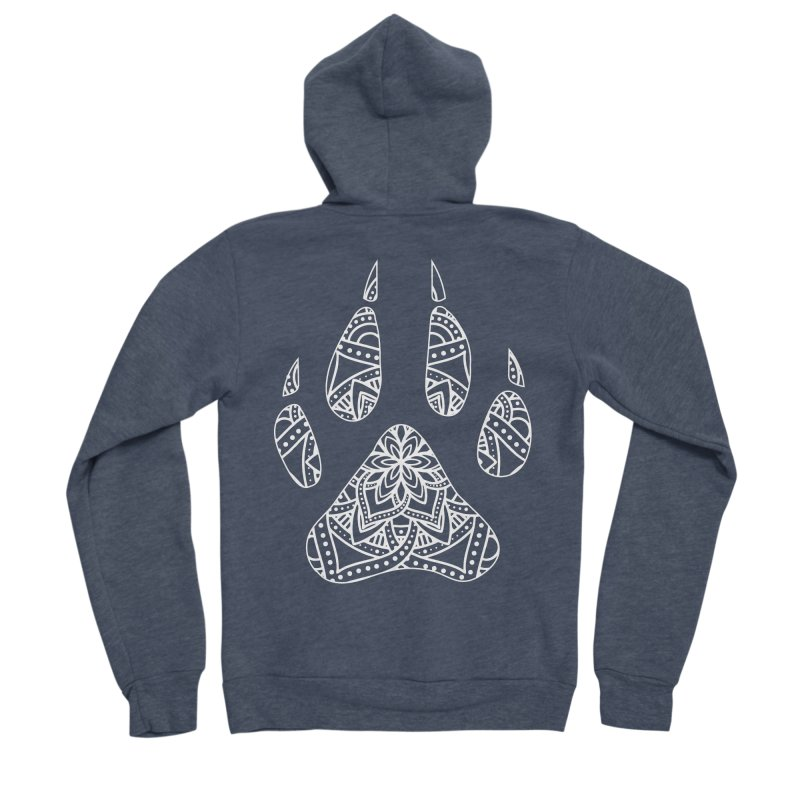 White Dog Paw Print Mandala Design on Darker Apparel Women's Zip-Up Hoody by Logo Gear & Logo Wear