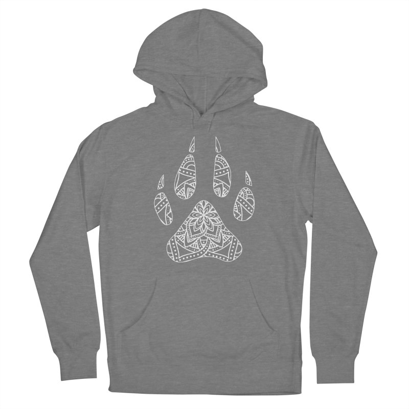 White Dog Paw Print Mandala Design on Darker Apparel Women's Pullover Hoody by Logo Gear & Logo Wear