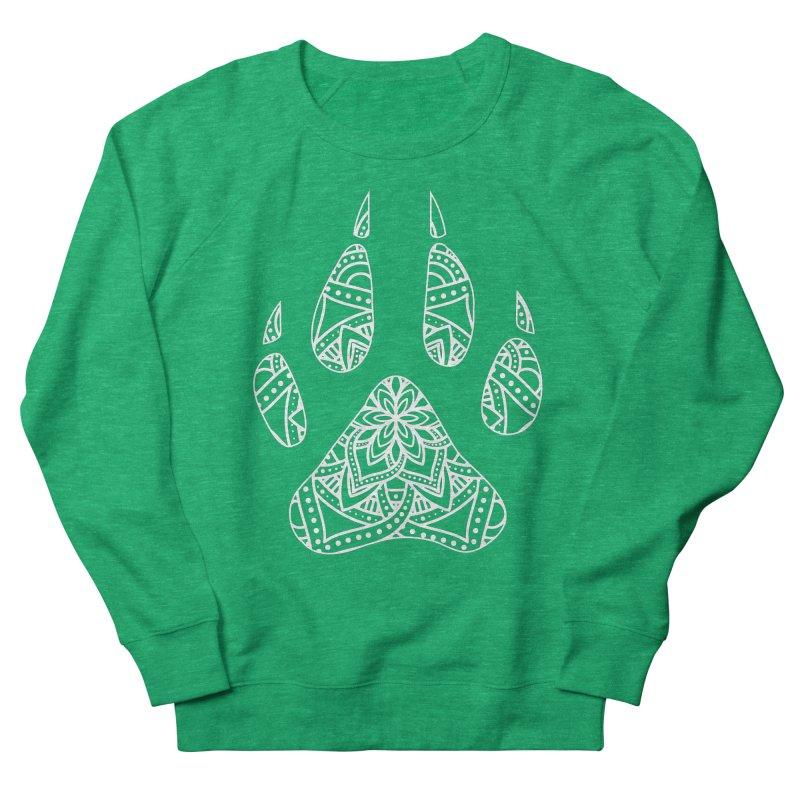 White Dog Paw Print Mandala Design on Darker Apparel Women's Sweatshirt by Logo Gear & Logo Wear