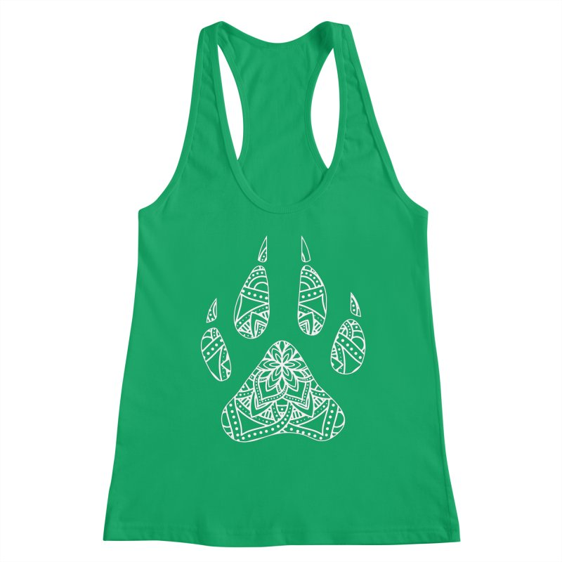 White Dog Paw Print Mandala Design on Darker Apparel Women's Tank by Logo Gear & Logo Wear