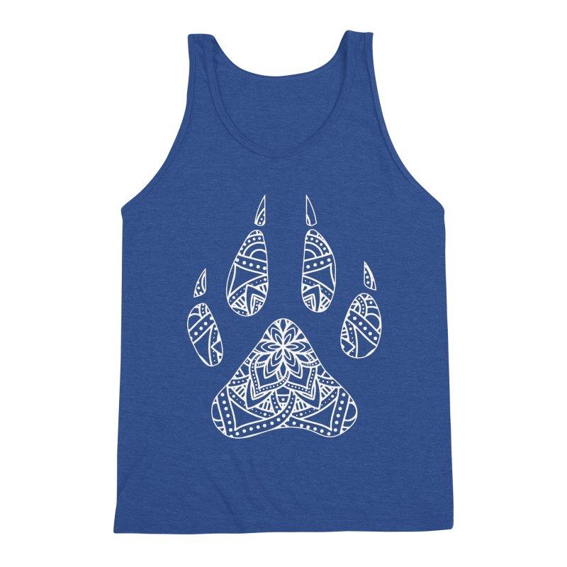 White Dog Paw Print Mandala Design on Darker Apparel Men's Tank by Logo Gear & Logo Wear