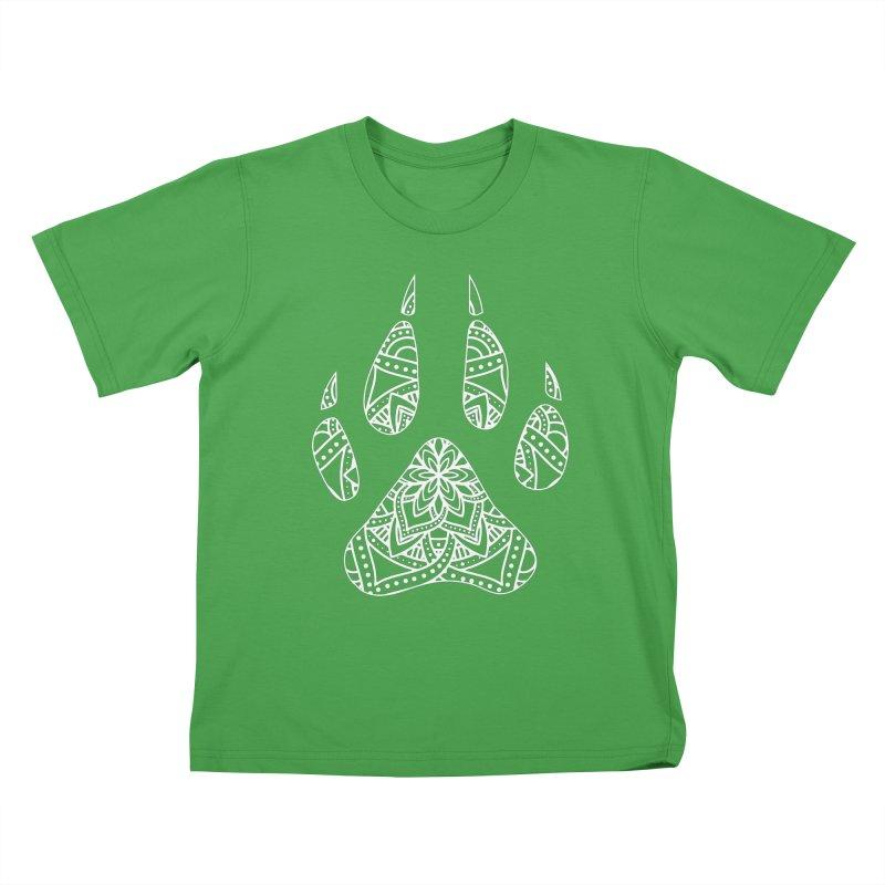 White Dog Paw Print Mandala Design on Darker Apparel Kids T-Shirt by Logo Gear & Logo Wear