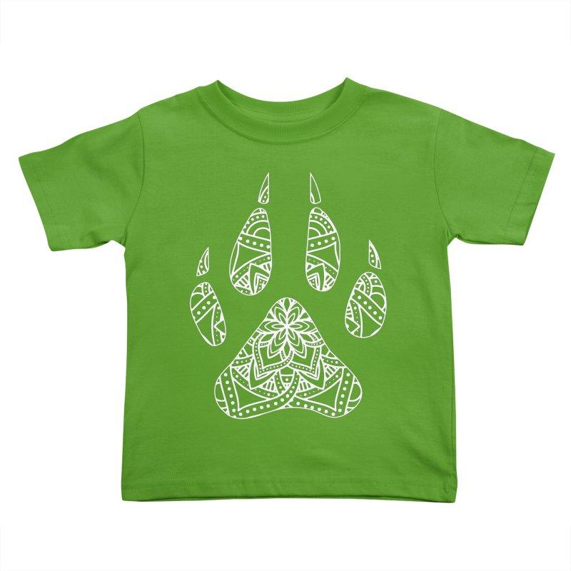White Dog Paw Print Mandala Design on Darker Apparel Kids Toddler T-Shirt by Logo Gear & Logo Wear