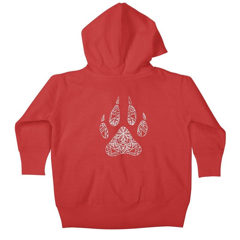 White Dog Paw Print Mandala Design on Darker Apparel Kids Baby Zip-Up Hoody by Logo Gear & Logo Wear