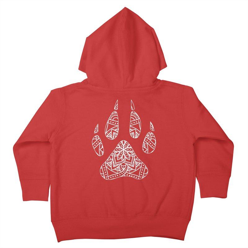 White Dog Paw Print Mandala Design on Darker Apparel Kids Toddler Zip-Up Hoody by Logo Gear & Logo Wear