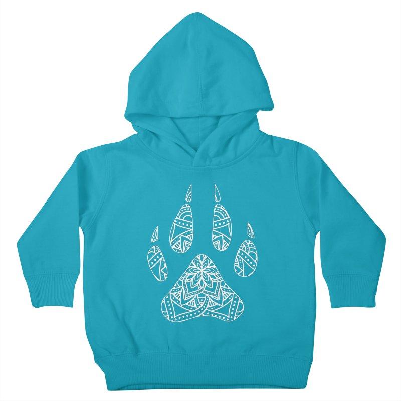 White Dog Paw Print Mandala Design on Darker Apparel Kids Toddler Pullover Hoody by Logo Gear & Logo Wear