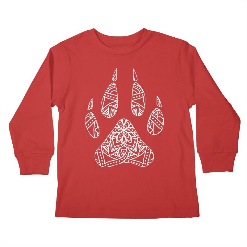 White Dog Paw Print Mandala Design on Darker Apparel Kids Longsleeve T-Shirt by Logo Gear & Logo Wear