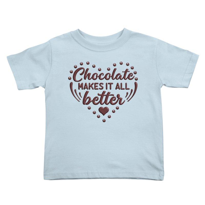 Chocolate Makes It All Better Heart Kids Toddler T-Shirt by Logo Gear & Logo Wear