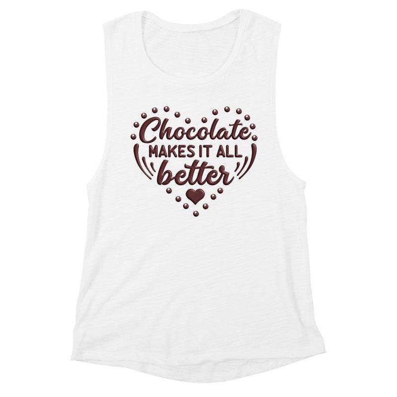 Chocolate Makes It All Better Heart Women's Tank by Logo Gear & Logo Wear