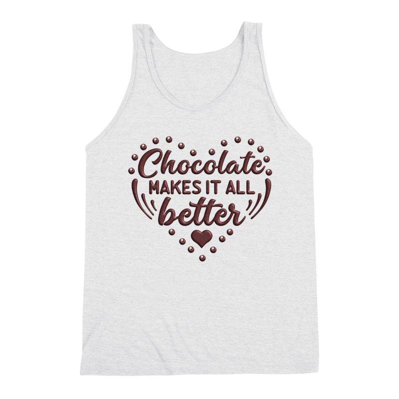 Chocolate Makes It All Better Heart Men's Tank by Logo Gear & Logo Wear