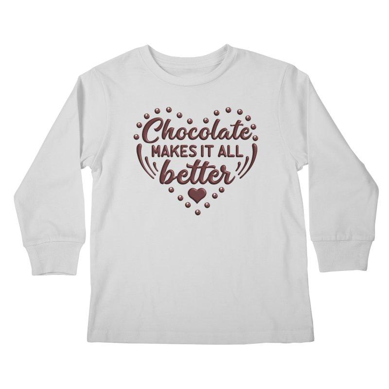 Chocolate Makes It All Better Heart Kids Longsleeve T-Shirt by Logo Gear & Logo Wear