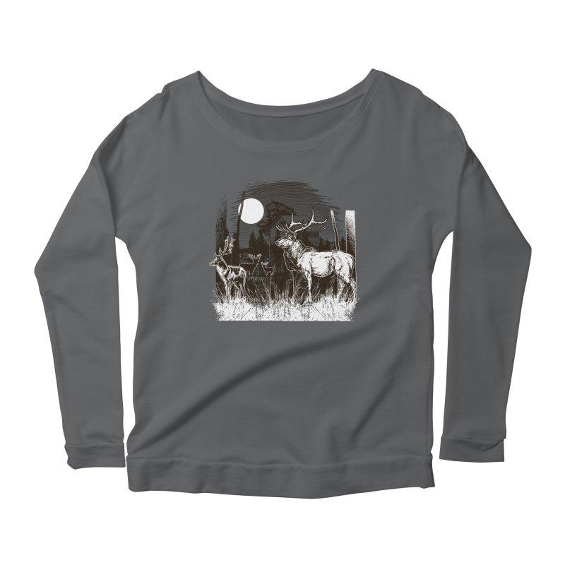Deer at the Farm Vintage Illustration Women's Longsleeve T-Shirt by Logo Gear & Logo Wear