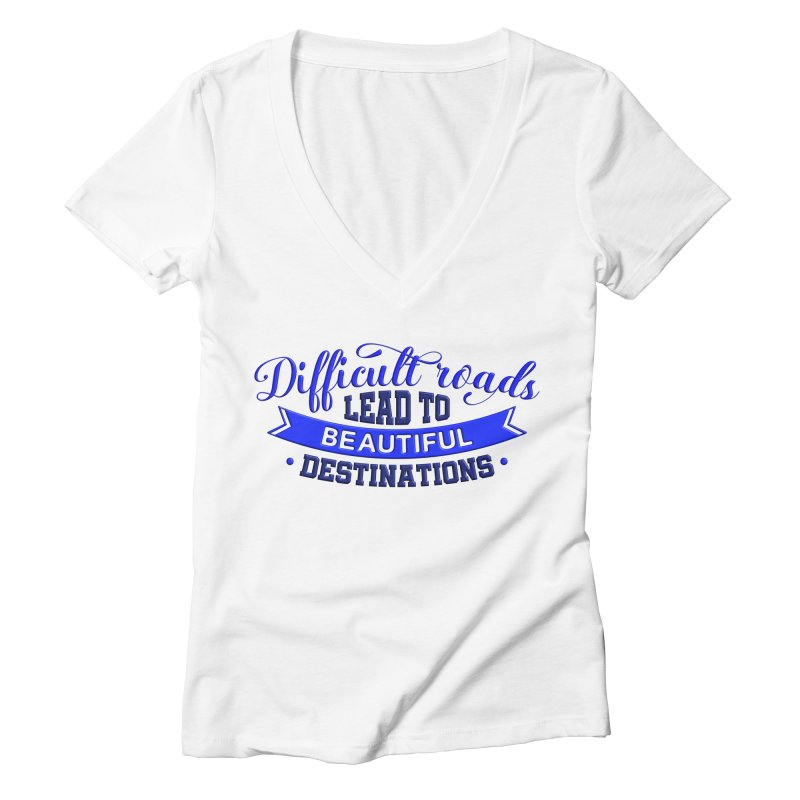Difficult Roads - Dark Blue Print Women's V-Neck by Logo Gear & Logo Wear