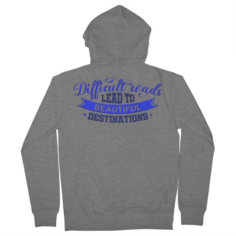 Difficult Roads - Dark Blue Print Women's Zip-Up Hoody by Logo Gear & Logo Wear