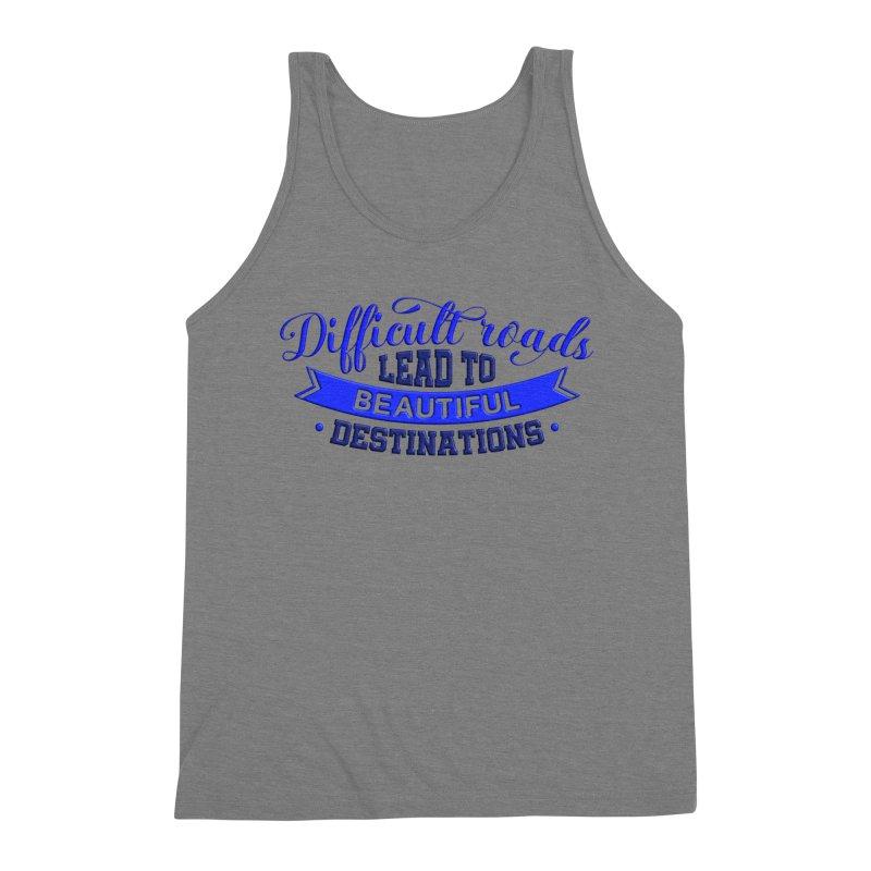 Difficult Roads - Dark Blue Print Men's Tank by Logo Gear & Logo Wear