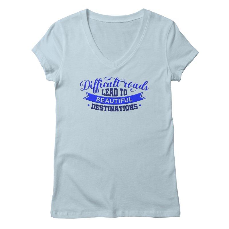 Difficult Roads - Dark Blue Print Women's V-Neck by Logo Gear & Logo Wear
