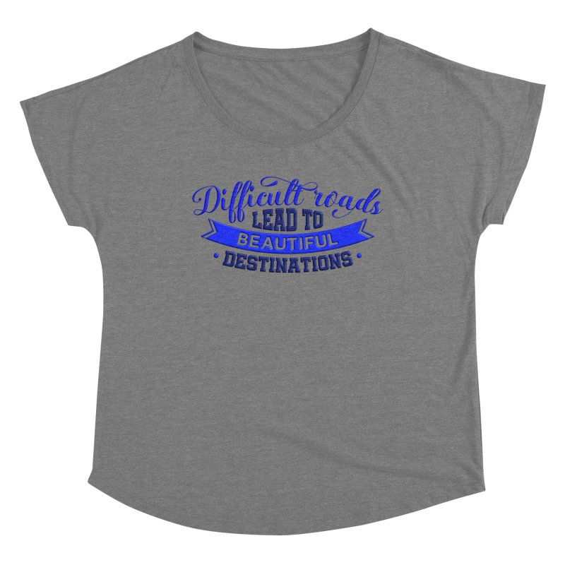 Difficult Roads - Dark Blue Print Women's Scoop Neck by Logo Gear & Logo Wear
