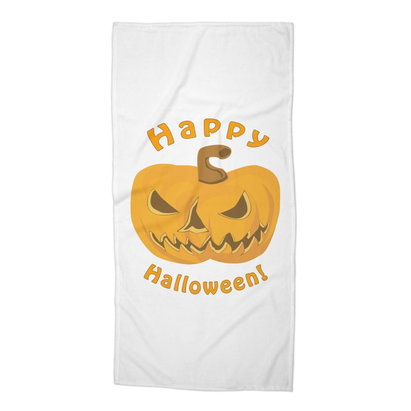 Happy Halloween Pumpkin Accessories Beach Towel by Logo Gear & Logo Wear