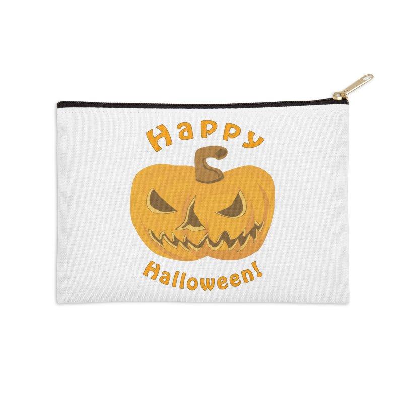 Happy Halloween Pumpkin Accessories Zip Pouch by Logo Gear & Logo Wear