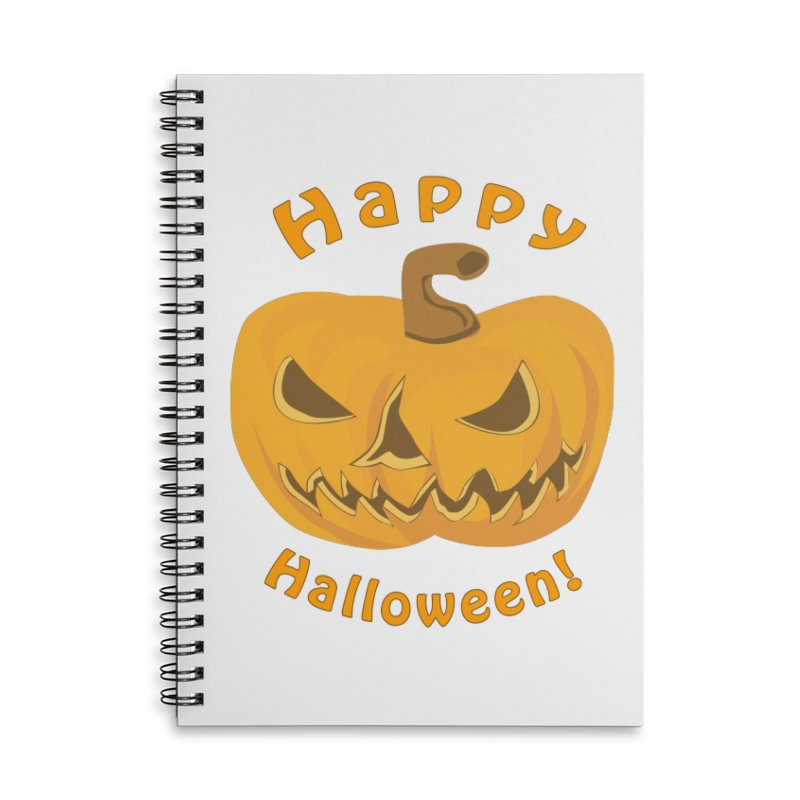 Happy Halloween Pumpkin Accessories Lined Spiral Notebook by Logo Gear & Logo Wear