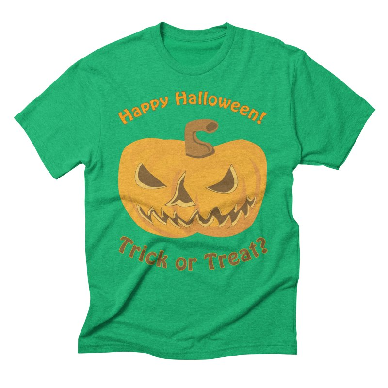 Happy Halloween Pumpkin Men's Triblend T-Shirt by Logo Gear & Logo Wear