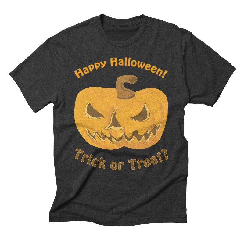 Happy Halloween Pumpkin Men's Triblend T-Shirt by Logo Gear & Logo Wear