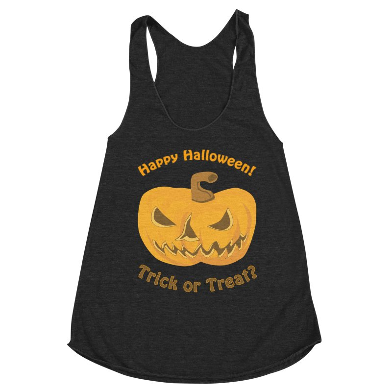 Happy Halloween Pumpkin Women's Racerback Triblend Tank by Logo Gear & Logo Wear