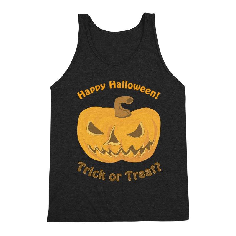 Happy Halloween Pumpkin Men's Triblend Tank by Logo Gear & Logo Wear