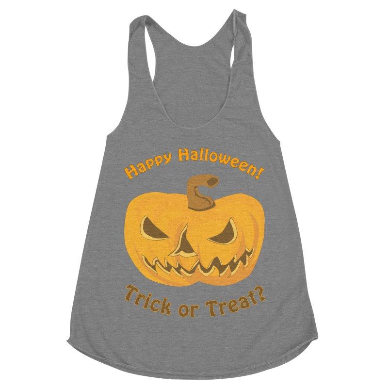 Happy Halloween Pumpkin Women's Racerback Triblend Tank by Logo Gear & Logo Wear